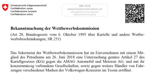 Bekanntmachung AMAG der WEKO